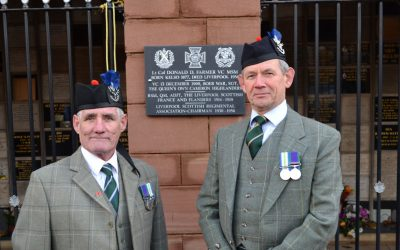 Tony Stranack and the Chairman at the plaque unveiled to the memory of Lt Col Farmer VC MSM on Anfield Cemetery, Liverpool on 14th December 2019